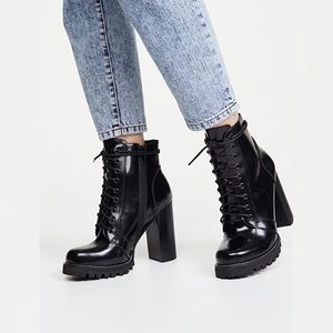 "Jeffrey Campbell ""Legion"" Black Chunky Ankle Boots"